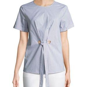 MICHAEL KORS Tie-Front Short-Sleeve Poplin Blouse